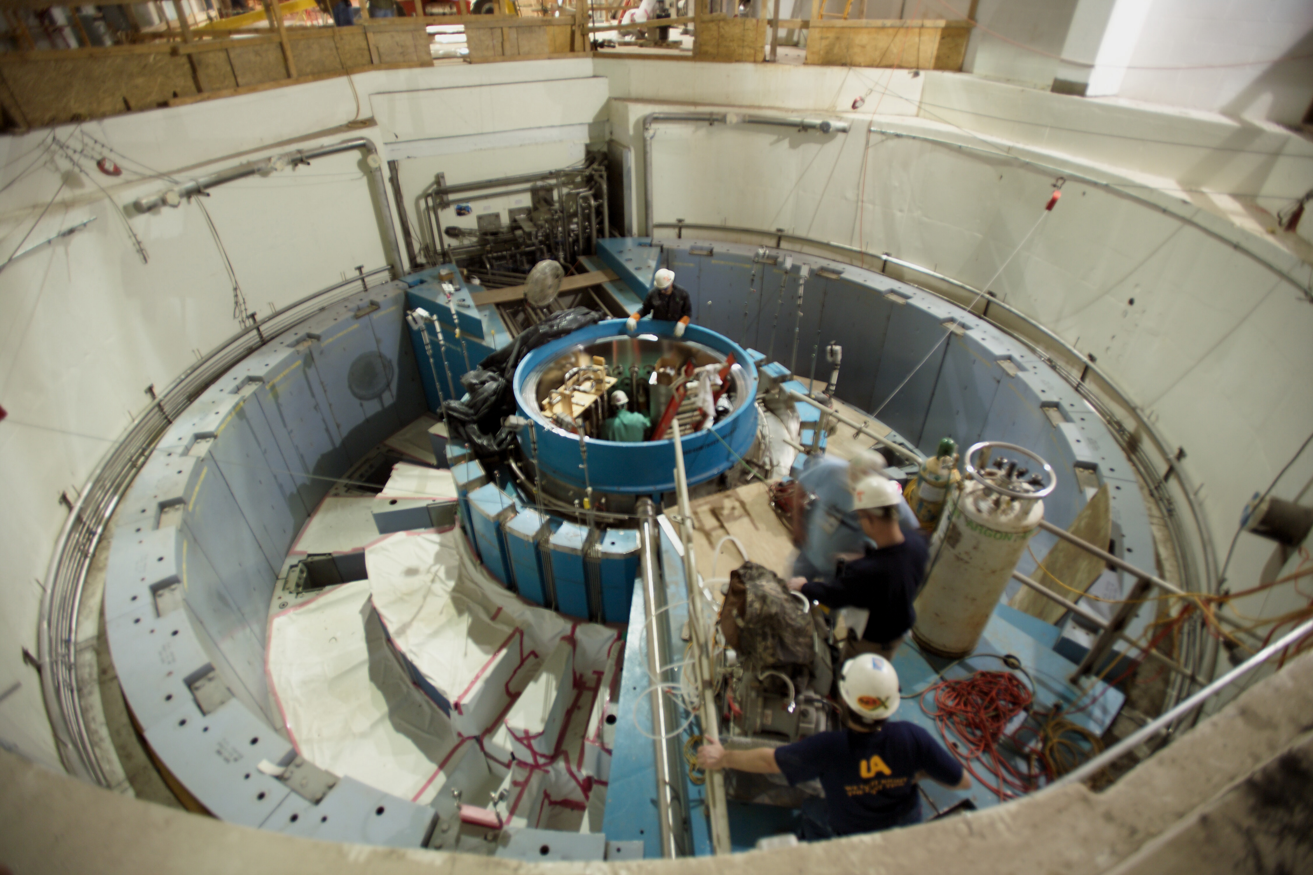 From 2005, installation nearing completion of the target building interior where neutrons are created via spallation and sent to the surrounding instruments for research. (Credit: ORNL/Curtis Boles)
