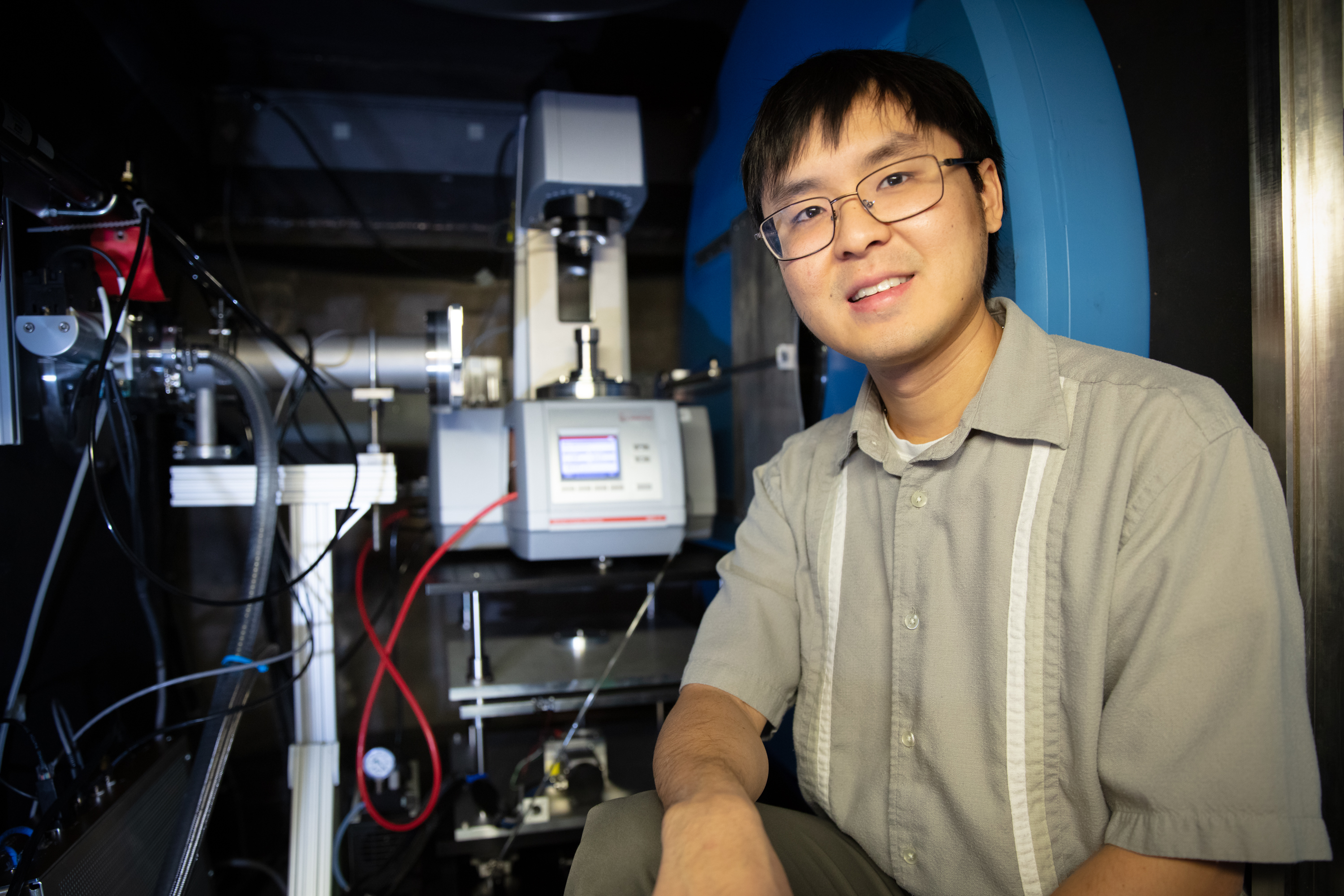 The rheo-SANS environment allowed ORNL's Christopher Lam to investigate the response properties of polymer gels at the EQ-SANS beamline at the Spallation Neutron Source. (Credit: ORNL/Genevieve Martin)