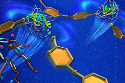 A combination of X-ray and neutron scattering has revealed new insights into how a highly efficient industrial enzyme is used to break down cellulose. Knowing how oxygen molecules (red) bind to catalytic elements (illustrated by a single copper ion) will guide researchers in developing more efficient, cost-effective biofuel production methods. (Image credit: ORNL/Jill Hemman)