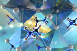 Neutron interactions revealed the orthorhombic structure of the hybrid perovskite stabilized by the strong hydrogen bonds between the nitrogen substituent of the methylammonium cations and the bromides on the corner-linked PbBr6 octahedra. (Image credit: ORNL/Jill Hemman)