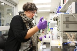 Using neutron scattering, Monika Hartl from the European Spallation Source is studying how water filters interact with contaminants to optimize filter designs and improve water treatment methods. (Image credit: ORNL/Genevieve Martin)