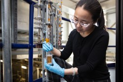 Oak Ridge National Laboratory, Pacific Northwest National Laboratory and Washington State University turn to fundamental chemistry to advance cleanup strategies for legacy tank waste. Pictured, ORNL collaborator Hsiu-Wen Wang led the neutron scattering experiments at the Spallation Neutron Source to probe complex electrolyte solutions that challenge nuclear waste processing at Hanford and other sites. Credit: ORNL/Genevieve Martin