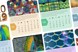 A calendar poster showcasing some recent scientific publications from HFIR and SNS.