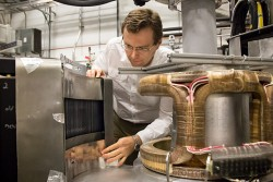 Brookhaven National Laboratory physicist Igor Zaliznyak and his team performed measurements of the inelastic spectra uniquely sensitive to magnetism in a particular iron-chalcogenide superconductor material at HYSPEC, SNS beam line 14B. Image credit: Genevieve Martin/ORNL