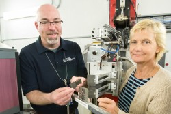 Robert Carter from NASA's Glenn Research Center (left) and Daira Legzdina from Honeywell Aerospace (right) examined high temperature nickel alloy samples containing linear friction welds using VULCAN, SNS beam line 7. Image credit: Genevieve Martin/ORNL