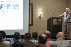 Jack Johnson of the Scripps Research Institute delivered the opening lecture at the fifth International Symposium on Diffraction Structural Biology, held August 7–10, 2016, in Knoxville, Tennessee. Image credit: Carlos Jones/ORNL