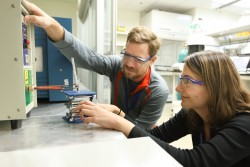 Louisiana State University researchers used RF fields to heat iron oxide nanoparticles attached to petroleum molecules to achieve more energy efficient catalytic reactions. Image Credit: ORNL/Genevieve Martin