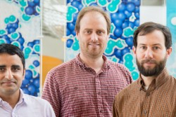 ORNL researchers have discovered a new type of quantum critical point, a new way in which materials change from one state of matter to another. Featured here are researchers Lekh Poudel (left), Andrew Christianson and Andrew May. (Image credit: ORNL/Genevieve Martin)