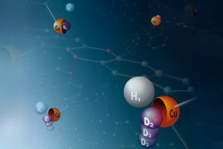 Reservoir for heavy hydrogen: Molecules of the heavy hydrogen isotopes deuterium and tritium preferentially bind to copper atoms in a metal-organic framework compound. The metal atoms are therefore symbolically represented as shells in this image. Image credit: Thomas Häse, Leipzig University