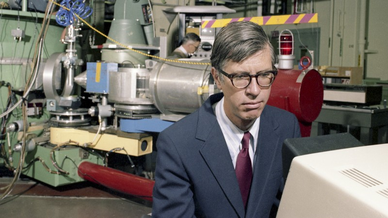 Herbert A. Mook Jr., solid-state physicist and one of Oak Ridge National Laboratory's most venerable neutron scattering researchers, died Saturday, Oct. 1, 2016. Mook is shown here at the High Flux Isotope Reactor in 1982. Image credit: ORNL.