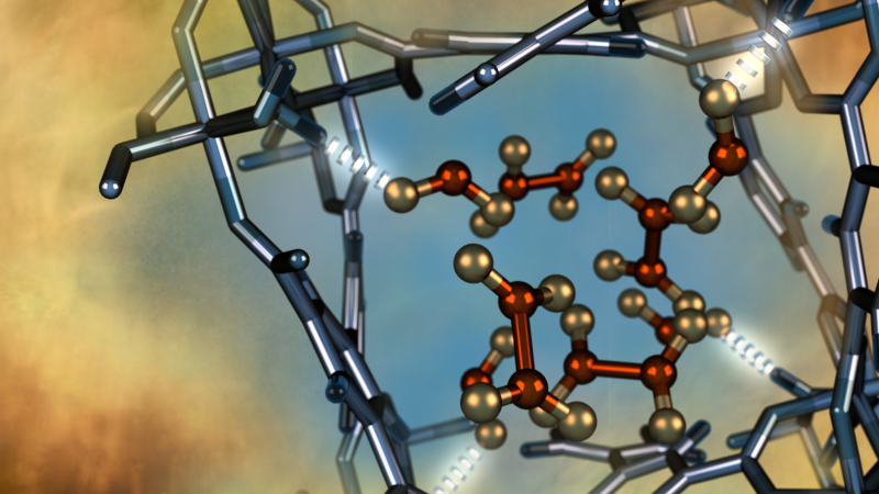 Illustration of a nitrogen dioxide molecule (depicted in red and gold) confined within a nano-size pore of an MFM-300(Al) metal-organic framework material as characterized using neutron scattering at Oak Ridge National Laboratory. Image credit: ORNL/Jill Hemman