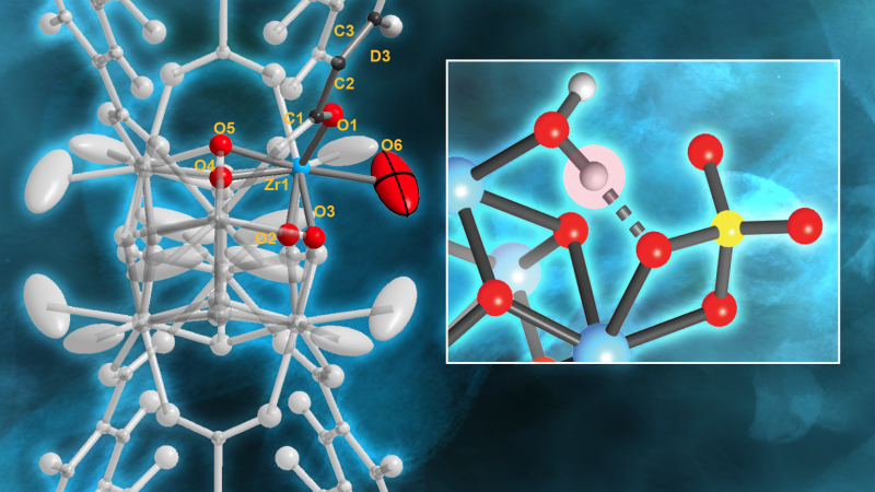 (left) Neutrons revealed which Brønsted acid site in MOF-808-SO4 is primarily responsible for the MOF's ability to efficiently convert base substances like petroleum into other chemicals. (right) They also revealed the hydrogen bonds that form when the MOF is well hydrated and that are strongly correlated with the MOF's excellent catalytic performance. (zirconium–blue, oxygen–red, carbon–light gray, sulfur–yellow). Credit: Chris Trickett, UC Berkeley and Jill Hemman, ORNL