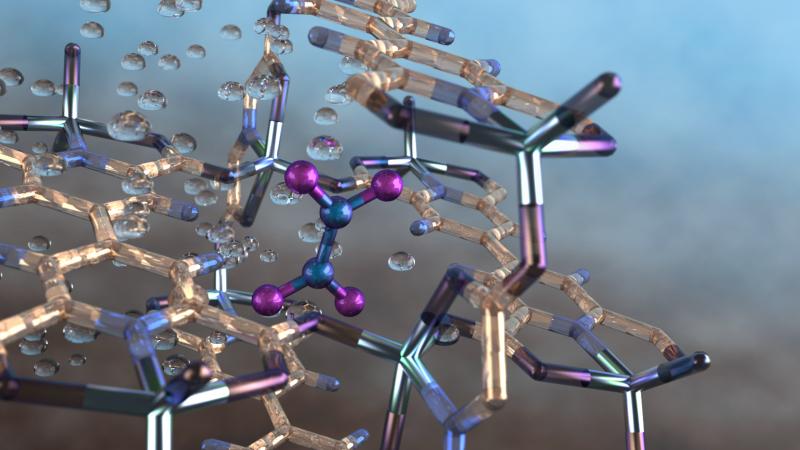 Illustration of a nitrogen dioxide molecule (depicted in blue and purple) captured in a nano-size pore of an MFM-520 metal-organic framework material as observed using neutron vibrational spectroscopy at Oak Ridge National Laboratory. Credit: ORNL/Jill Hemman