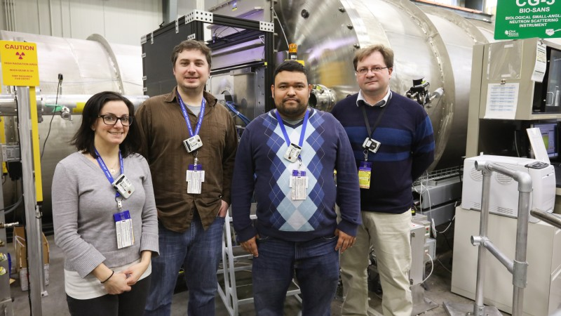 Researchers from NIST and the University of Maryland are using neutrons to improve simulated DNA and RNA structures for broad medical and pharmaceutical applications. From left, Christina Bergonzo, Chad Lawrence, Roderico Acevedo, and Alexander Grishaev. (Credit: ORNL/Genevieve Martin)