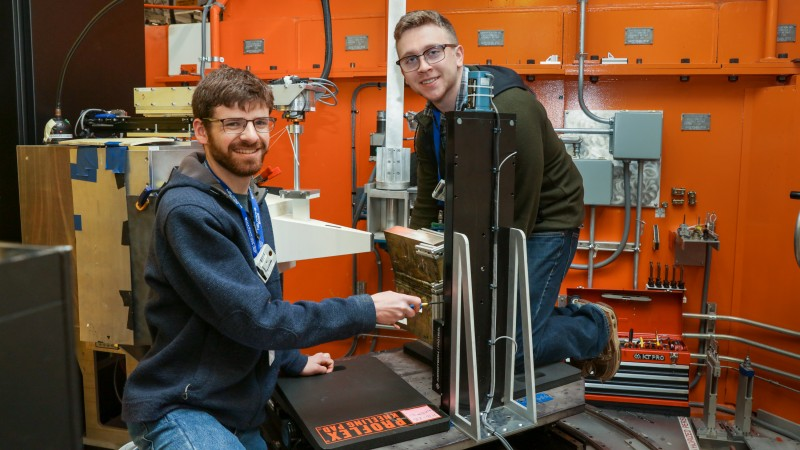 Colorado School of Mines graduate student researchers (left) Ben Schneiderman and Tim Pickle using n