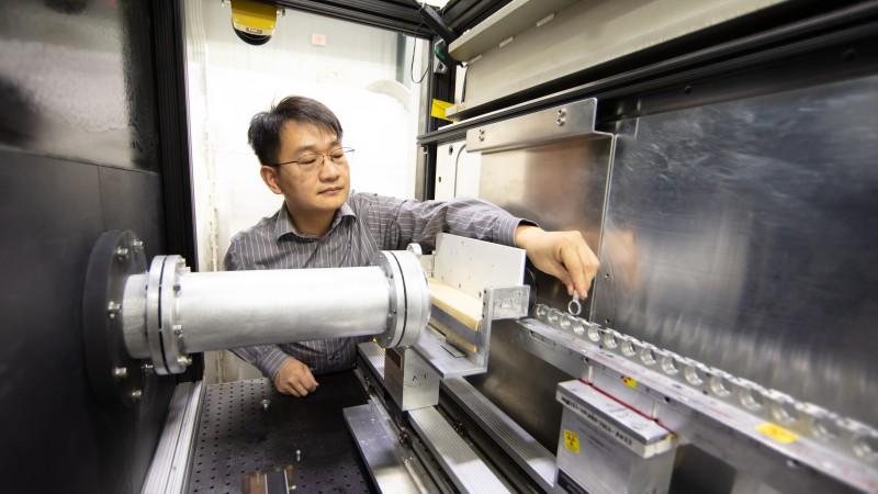 ORNL instrument scientist Shuo Qian prepares the Bio-SANS instrument at HFIR