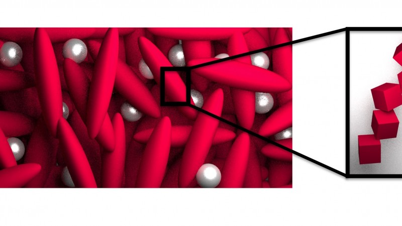 Fullerenes appear as small silver spheres spread consistently throughout a network of small molecules, or polymers, in this schematic illustration of the morphology of a BHJ film with solvent additives. Credit: ORNL.