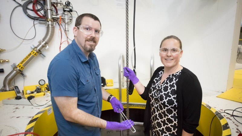 With the help of other researchers from ORNL and Colorado State University, Daniel Olds and Katharine Page developed a U-tube gas flow cell to study catalysts and better understand how they facilitate chemical reactions. With this cell integrated into a new sample environment, they can combine neutron diffraction and isotope analysis techniques to view catalytic behavior under realistic operating conditions. (Image credit: ORNL/Genevieve Martin)