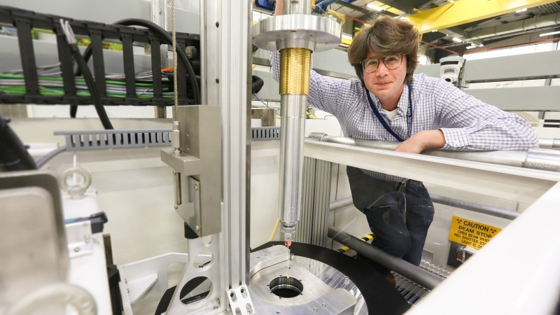 Uppsala University researcher Marvin Seibert is using neutrons to study RuBisCO, an abundant enzyme essential to life on earth. His team hopes to determine how plants and other organisms use RuBisCO to catalyze a reaction called carbon fixation that converts carbon dioxide into useful organic compounds. (Image credit: ORNL/Genevieve Martin)