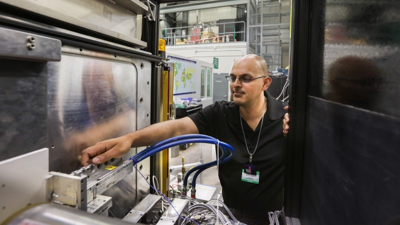 University of Pennsylvania researcher Kushol Gupta is using the Bio-SANS instrument at ORNL's High Flux Isotope Reactor to study the defense mechanisms of HIV in hopes of improving antiviral drug applications. (Image credit: ORNL/Genevieve Martin)
