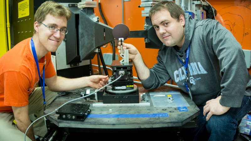 IMAGE CAPTION: John Einhorn (left) and Matt Steiner working with the Neutron Residual Stress Mapping Facility instrument, beamline HB-2B, at ORNL's High Flux Isotope Reactor. (Image credit: Genevieve Martin)