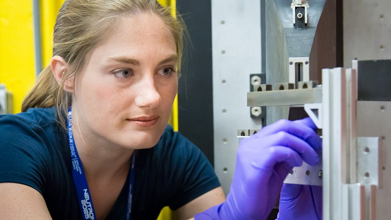 Stacey Bagg, research engineer from NASA's Marshall Space Flight Center, is using HFIR beam line HB-2B, to study residual stress in additive manufactured rocket engine components to qualify them for space flight. Image credit: Genevieve Martin/ORNL.