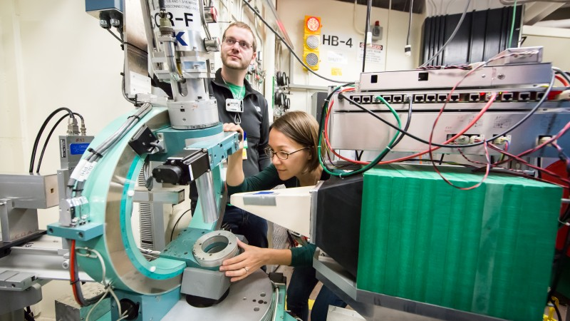 Colin Sarkis and Kate Ross of Colorado State University are using neutrons to study a material with an unusual magnetic structure. This research could both enhance their team's fundamental understanding of frustrated magnetism and lead to improvements in digital information storage. (Image credit: ORNL/Genevieve Martin)