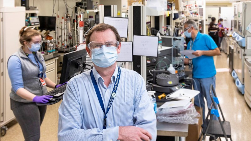Hugh O'Neill, director of ORNL's Center for Structural and Molecular Biology, is leading a team of scientists in an ambitious research campaign to provide structural information at the atomic scale on SARS-CoV-2. He and his team are using neutron scattering at two of DOE's flagship research facilities to aid in the development of treatments to stop the deadly virus. (credit: ORNL/Carlos Jones)