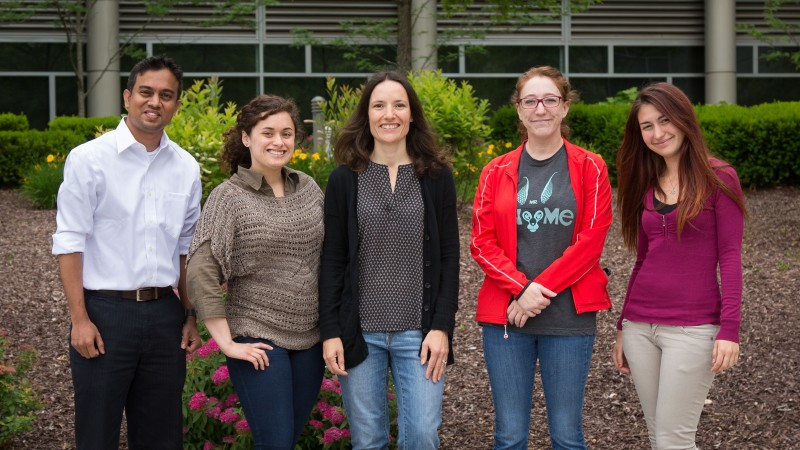 Flora Meilleur, center, is the coordinator for the seventh annual Neutron Scattering Applications in Structural Biology workshop. Here she is shown with four student participants, from left to right: Suchi Perera, Nayomi Plaza, Meilleur, Leiah Carey, and Zumra Peksaglam. (Image credit: Genevieve Martin/ORNL)