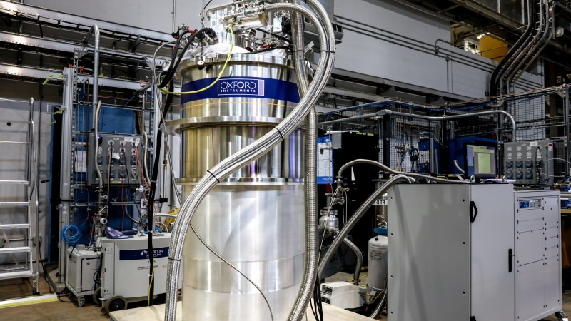 The 14-tesla magnet, fully assembled at SNS. The magnet will help researchers learn more about materials that exhibit quantum behaviors like quantum magnetism. (Image credit: ORNL/Genevieve Martin)