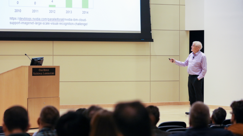Plenary speaker Tony Hey, chief data scientist at Rutherford Appleton Laboratory in England, discusses artificial intelligence applications for large-scale facilities at the STS workshop. Credit: ORNL/Genevieve Martin