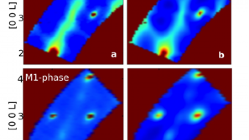 Thermal diffuse scattering in metallic (R-phase) and insulating (M1-phase) states of single-crystalline VO2. Left panels are experimental x-ray data and right panels are simulations performed within CAMM.