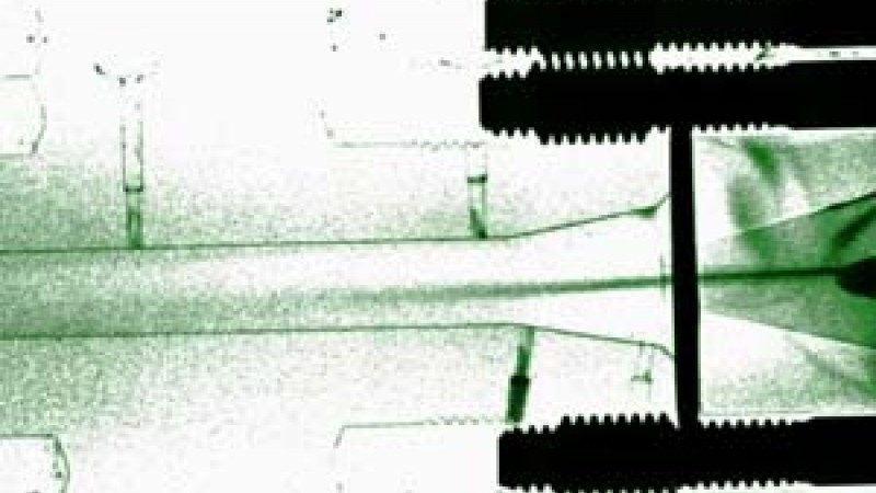 Neutron imaging, like this radiograph of fuel injector spray, is valuable for studying engineering materials.