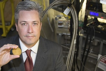 ORNL's Michael Manley led a study to discover the key to the success of modern materials used in ultrasound machines and other piezoelectric devices. At the ARCS instrument of the Spallation Neutron Source, he and colleagues studied lattice dynamics in relaxor-based ferroelectrics. Image credit: Oak Ridge National Laboratory, U.S. Dept. of Energy; photographer Genevieve Martin