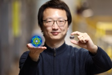 Researcher Xiaojian Bai and his colleagues used neutrons at ORNL's Spallation Neutron Source to disc