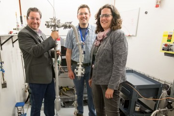 Timmy Ramirez-Cuesta, Chad Gillis and Monika Hartl were part of a team developing a new tool that is now available to users at VISION, SNS beam line 16B, that allows for simultaneous neutron and photon scattering measurements. Image credit: Genevieve Martin/ORNL