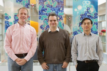 Pete Peterson, Andrei Savici, and Wenduo Zhou, all software scientists with the Neutron Sciences Directorate's Spallation Neutron Source, have conducted experiments showing the effectiveness of event-based data collection for materials research. Image Credit: ORNL/Genevieve Martin